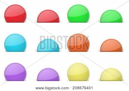 Round colored labels partially hidden in paper holes, with transparent shadow. Vector illustration on white background