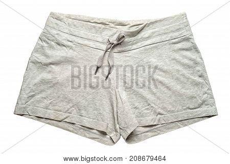 grey sportiv shorts isolated on white background