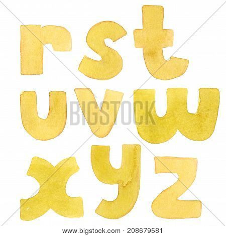 Large grainy watercolor bright letters. Bold alphabet sequence from R to Z. Bright yellow font.