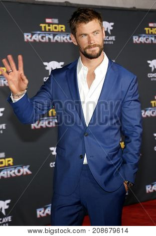 Chris Hemsworth at the World premiere of 'Thor: Ragnarok' held at the El Capitan Theatre in Hollywood, USA on October 10, 2017.