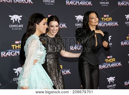 Chloe Bennet, Elizabeth Henstridge and Ming-Na Wen at the World premiere of 'Thor: Ragnarok' held at the El Capitan Theatre in Hollywood, USA on October 10, 2017.