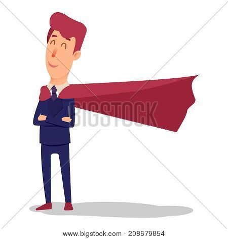 Cartoon successful businesman superhero in suit and cape. Young office superman manager in flat style. Professional salesman smiling on a white background. Powerful big boss