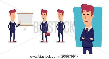 Set of Businessman character. Cartoon vector office managers