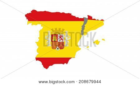 Catalunya Out Of Spain  Flag  On White Background