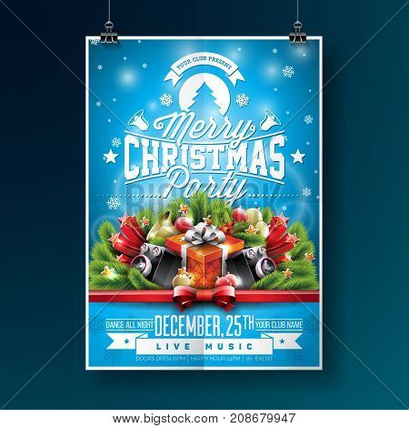 Vector Merry Christmas Party Flyer Illustration with Typography and Holiday Elements on Blue background. Invitation Poster Template