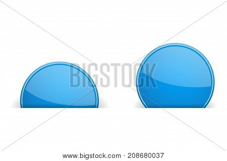 Round blue labels partially hidden in paper holes, with transparent shadow. Vector illustration on white background