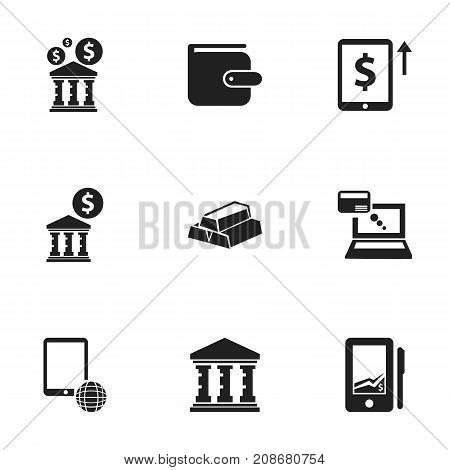 Set Of 9 Editable Financial Icons. Includes Symbols Such As Network, Purse, Library And More