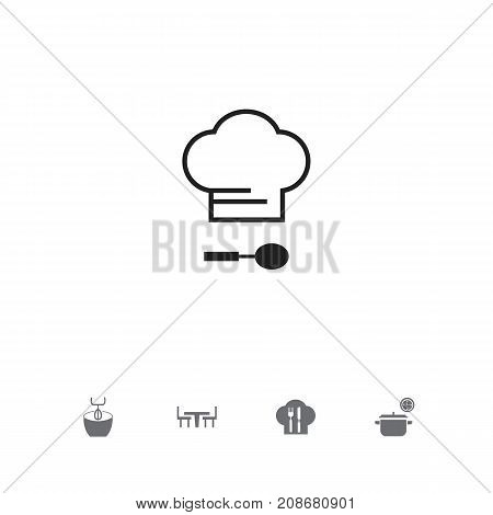 Set Of 5 Editable Restaurant Icons. Includes Symbols Such As Dining Table, Stir, Chef Cap And More