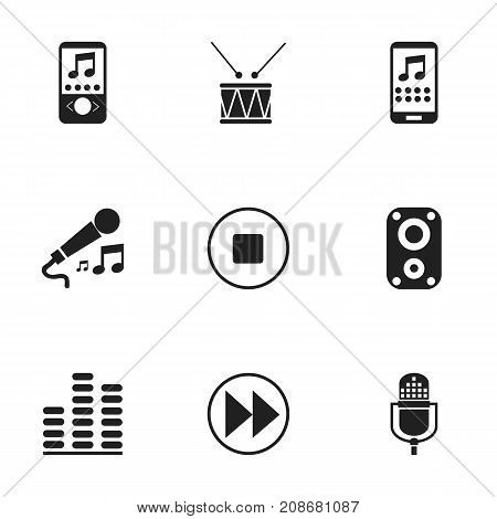 Set Of 9 Editable Music Icons. Includes Symbols Such As Music Phone, Drum, Karaoke And More