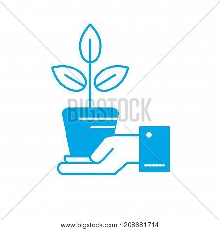 silhouette ecology plant with flowerpot and leaves in the hand vector illustration