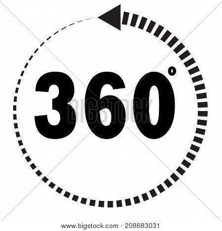360 degrees icon on white background. flat style. 360 degrees sign.