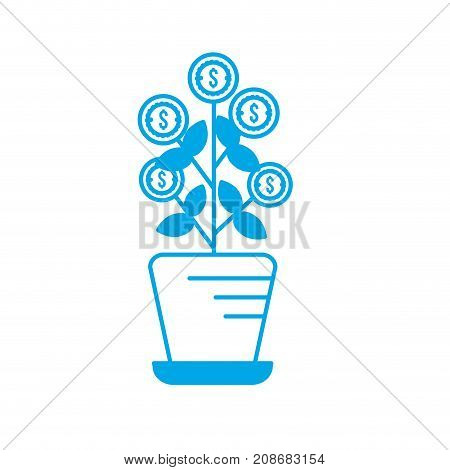 silhouette plant with coins leaves inside flowerpot vector illustration