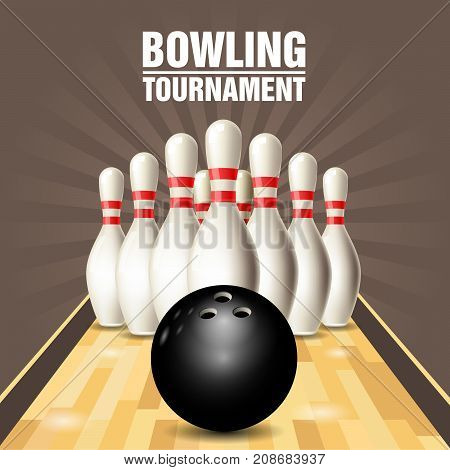 Party flyer with bowling court skittles and bowling ball