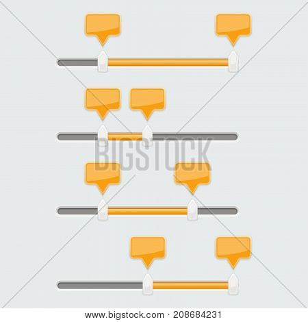Slider bar. Collection of gray user interface elements with orange tags. Vector 3d illustration