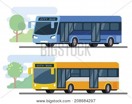 City public bus. Flat style concept of transport