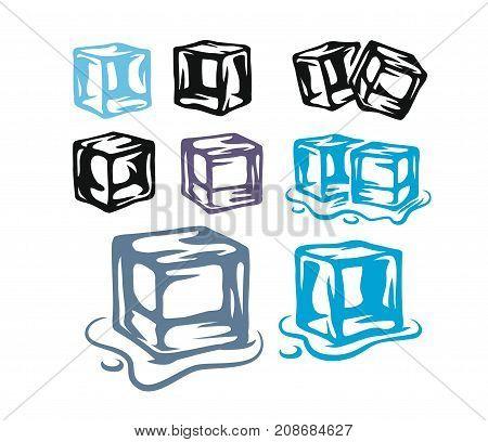 Ice cubes set on white background. Vector illustration