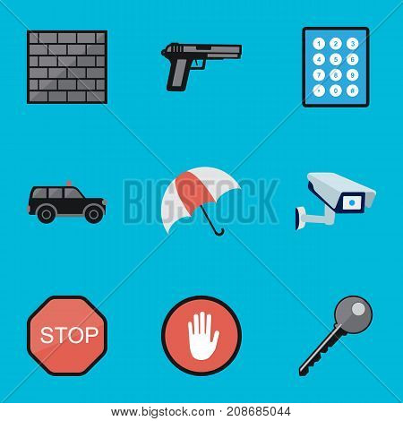 Set Of 9 Editable Security Flat Icons. Includes Symbols Such As Gun, Parasol, Security Camera And More