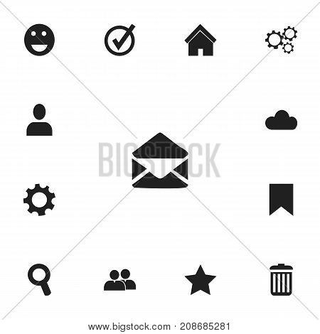 Set Of 13 Editable Internet Icons. Includes Symbols Such As Home, Bookmark, Approved And More