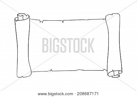 Parchment scroll. Horizontal paper piece. Outline icon. Vector illustration isolated on white background