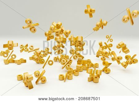 signs of falling golden percentages, 3D rendering