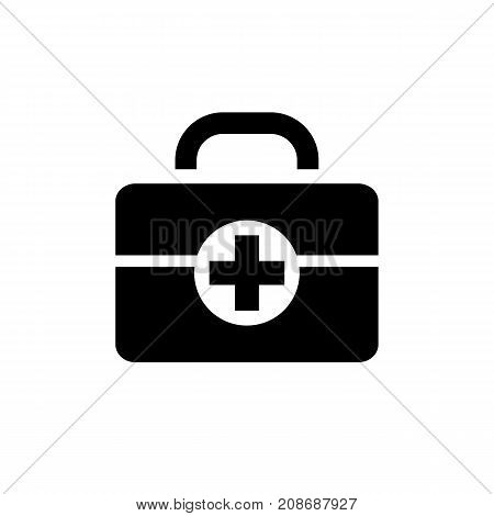 Icon of first aid kit. Cross, doctors bag, medical supply. Safety signs concept. Can be used for topics like medicine, first aid, treatment, healthcare