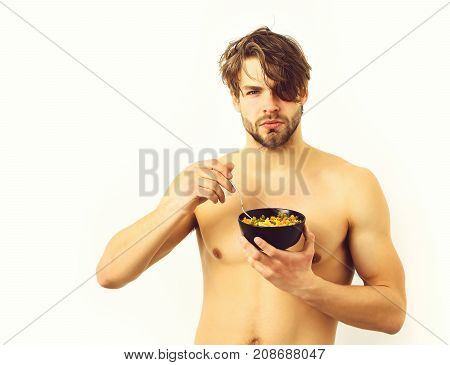 Caucasian Sexy Young Macho Holding Black Bowl With Pasta
