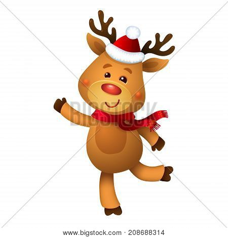 Santa's Reindeer Rudolph. Vector illustrations of Reindeer Rudolf Isolated on White Background. Merry Christmas