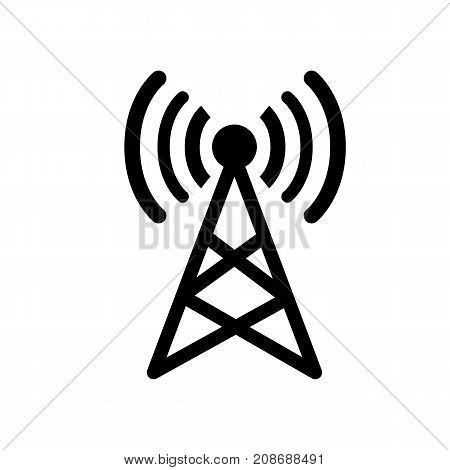 Antenna signal sign vector and isolated white background.Symbol of signal