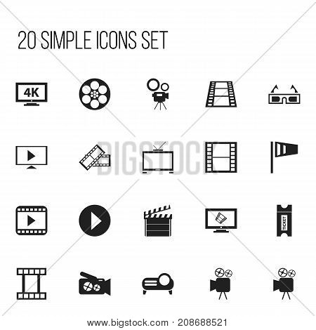 Set Of 20 Editable Filming Icons. Includes Symbols Such As Reel, Ultra Display, Tripod And More