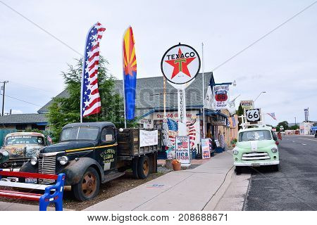 Route 66 Decorations In The City Of Seligman In Arizona.