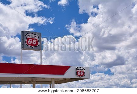 NEW MEXICO USA - JULY 22 2017: Phillips 66 gas station sign and logo. The Phillips 66 Company is an American multinational energy company.