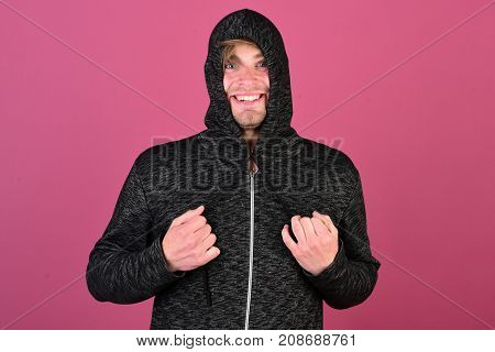 Guy With Bristle In Dark Grey And Black Hoodie