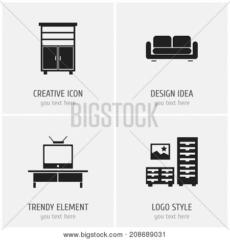 Set Of 4 Editable Furnishings Icons. Includes Symbols Such As Locker, Davenport, Cabinet And More