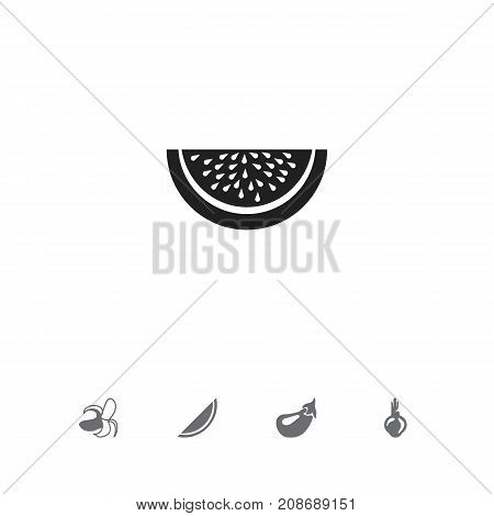 Set Of 5 Editable Fruits Icons. Includes Symbols Such As Aubergine, Banana, Melon And More