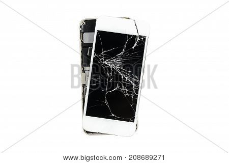 Smartphone with broken screen isolated on white background