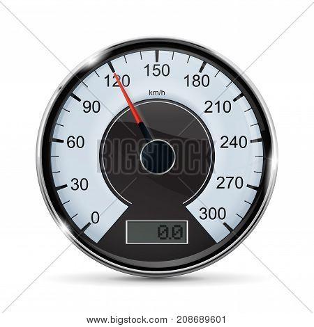 Speedometer. Round vehicle speed gauge. Vector illustration isolated on white background