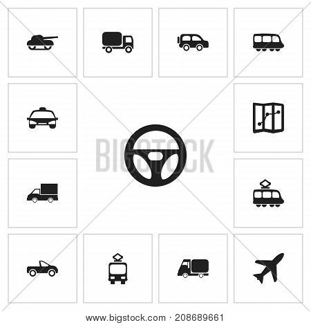 Set Of 13 Editable Transport Icons. Includes Symbols Such As Taxi, Aircraft, Family Jeep And More