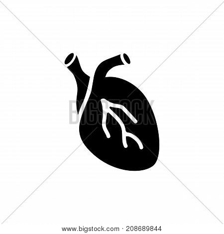 Icon of human heart. Organ, disease, medicine. Body part concept. Can be used for topics like cardiology, anatomy, heartbeat