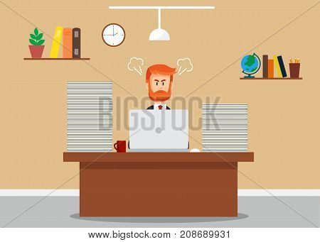 Stress at work concept. Business man in hard working. Stressful business man in office with too many stack of paper on his desk. Vector stock.