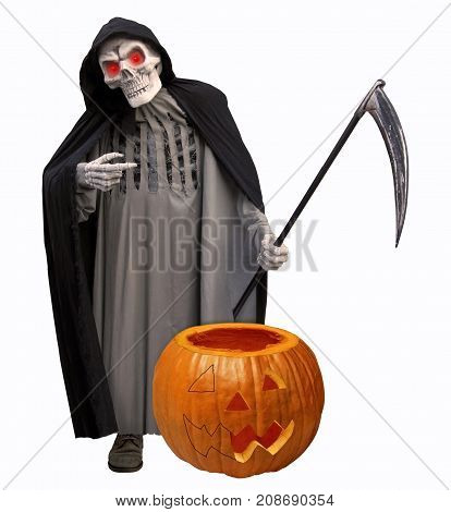 The grim reaper is next to a pumpkin. It's Halloween.