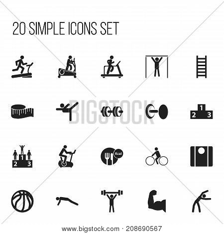 Set Of 20 Editable Lifestyle Icons. Includes Symbols Such As Instruction Male, Stairway, Racetrack Training And More