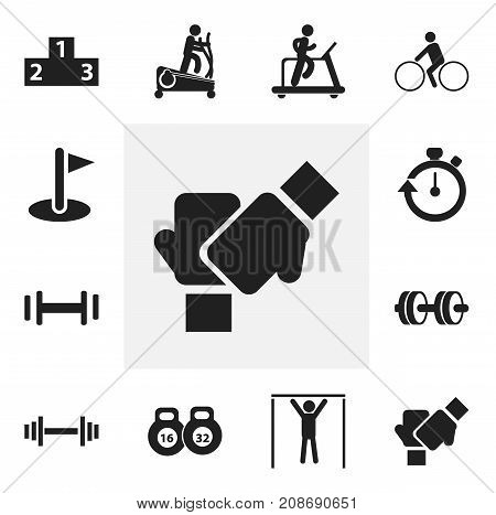 Set Of 12 Editable Training Icons. Includes Symbols Such As Instruction Male, Weightlifting, Gauntlet And More
