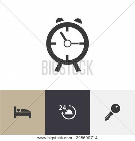Set Of 4 Editable Travel Icons. Includes Symbols Such As Alarm, Unblock Access, Bearings And More