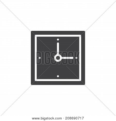 Wall square clock icon vector, filled flat sign, solid pictogram isolated on white. Symbol, logo illustration.