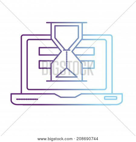 line laptop technology searching with hourglass icon vector illustration