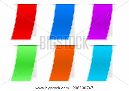 Colored paper labels with transparent shadow. Collection of stickers. Vector illustration isolated on white background