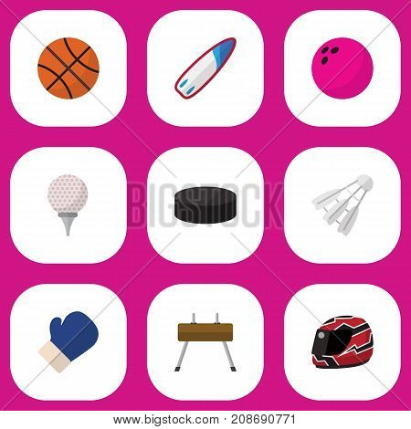 Set Of 9 Editable Lifestyle Flat Icons. Includes Symbols Such As Hard Hat, Badminton, Athlete And More