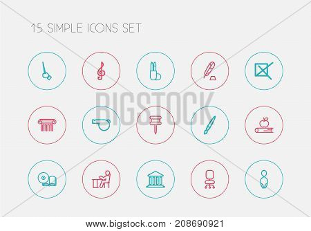 Set Of 15 Editable Science Outline Icons. Includes Symbols Such As Jumping, Whistle, Fetlock And More