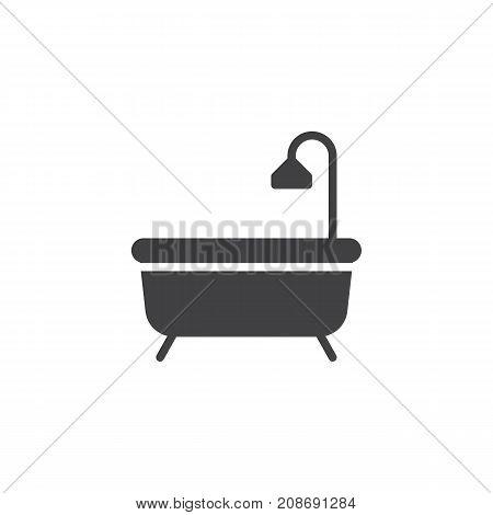 Shower bathtub icon vector, filled flat sign, solid pictogram isolated on white. Bath symbol, logo illustration.