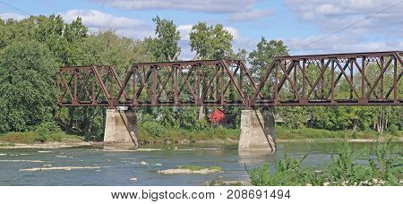 This historic trestle railroad bridge, built in 1916 to cross the Maumee River from Grand Rapids, Ohio is longer open to railroad traffic.